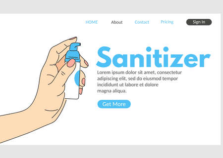 Hand sanitizer web landing page. Human hand holding sanitizer dispenser vector illustration. Coronavirus disease disinfection, hygiene and healthcare. Medical prevention and epidemic safety.