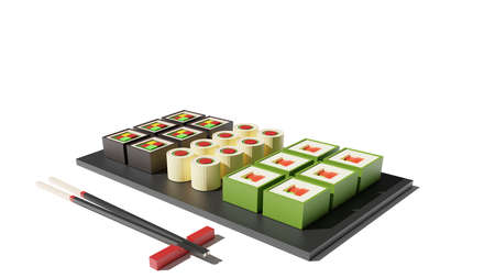 Sushi set 3d rendering low poly model. Sushi rolls and chopsticks on white background. Japanese food, fresh food concept for restaurant menu design. Tasty seafood web landing page with copy space.