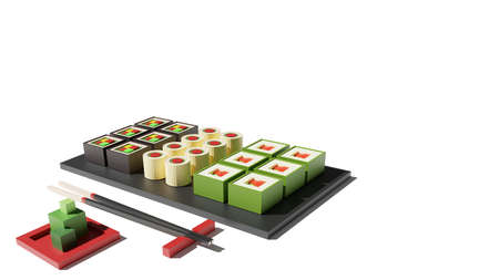 Sushi set 3d rendering low poly model. Sushi rolls, wasabi and chopsticks on white background. Japanese food, fresh food concept for restaurant menu design. Tasty seafood landing page with copy space. Banque d'images