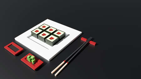 Sushi set 3d rendering low poly model. Sushi rolls, wasabi and chopsticks on black background. Japanese food, fresh food concept for restaurant menu design. Tasty seafood landing page with copy space.