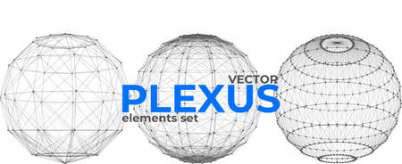 Abstract spherical plexus design elements set. Geometric structures from dots and lines. Polygonal plexus elements isolated on white background.