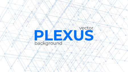 Abstract background with plexus design elements. Geometric structures from dots and lines. Polygonal plexus elements isolated on white background. Ilustracja