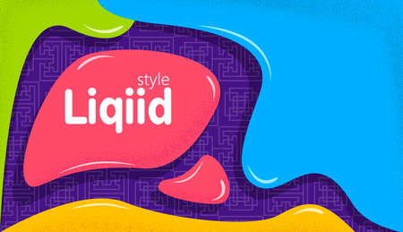 Colorful banner in liquid style design. Dynamical colored forms and bright abstract graphic elements. Vivid banner with flowing liquid shapes.