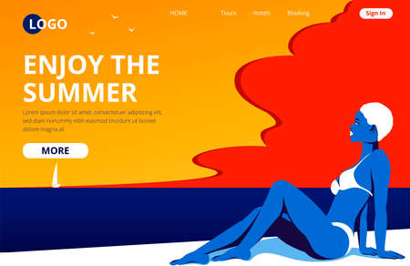Enjoy the summer landing page template. Summertime beach vacation banner with a sunbathing girl. Beautiful woman in swimwear pop art style vector illustration. Travel agency or tour operator concept.
