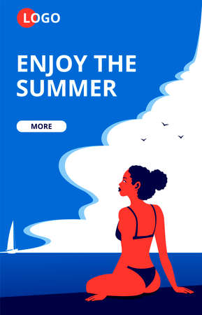 Summertime beach vacation poster with a sunbathing girl. Illustration
