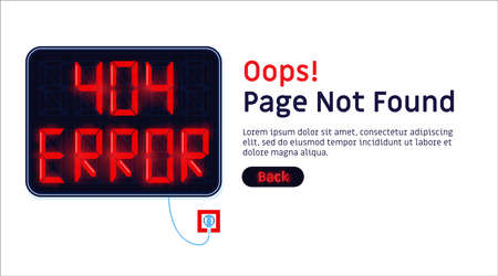 404 error. Page not found website vector template. Illustration