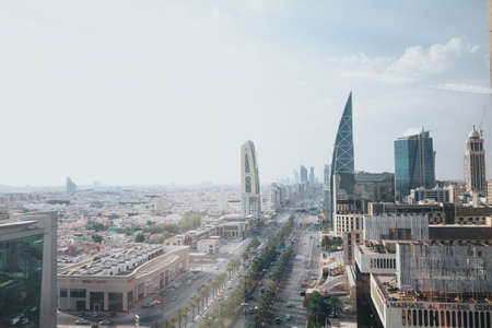 Skyline view at Riyadh in direction of King Abdullah Financial District fin foggy cloudy day