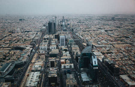 Aerial view of Riyadh downtown at the evening Editorial