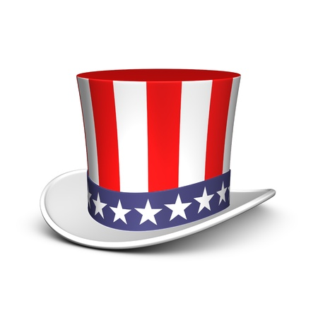 Uncle Sam hat. Isolated on the white background