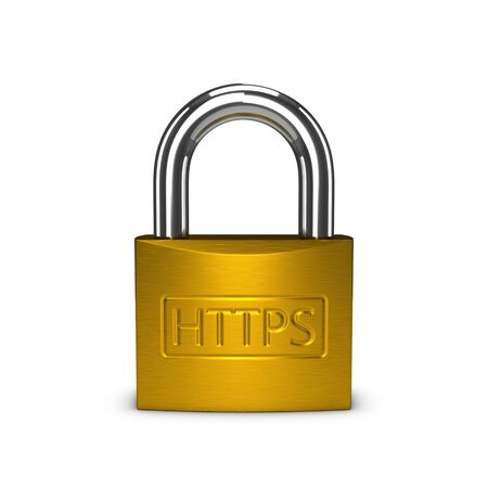 ssl: HTTPS padlock isolated on the white background.