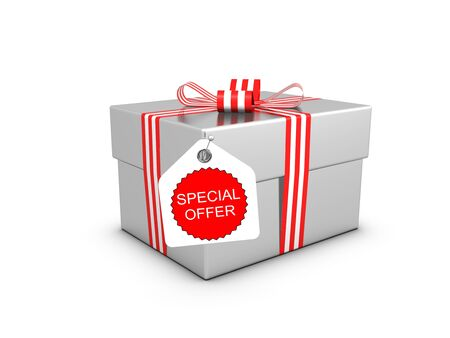 discount banner: Special offer and gift box. Isolated on the white background.