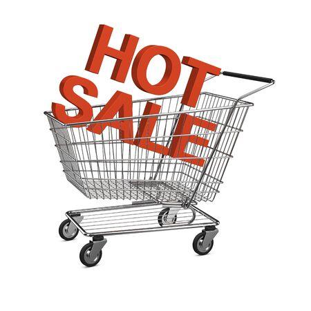 shopping buggy: Hot sale shopping cart. Isolated on the white background Stock Photo