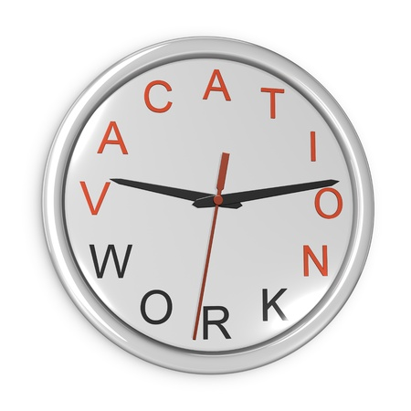 Vacation time concept. Wall clock isolated on the white background.
