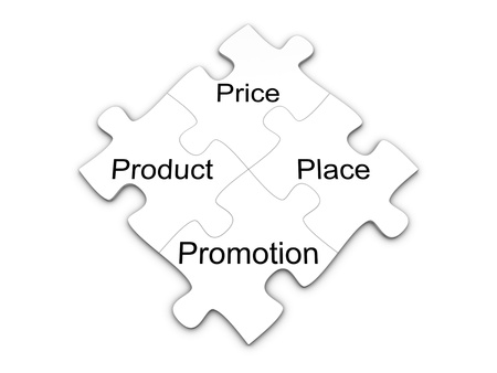 마케팅 믹스 퍼즐. 4P 개념. 흰색 배경에 고립