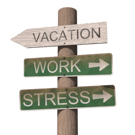 Wooden vacation sign. Isolated on the white background photo