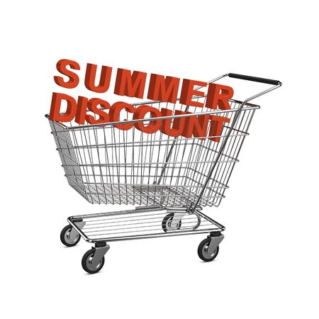 shopping buggy: Summer discount shopping cart. Isolated on the white background