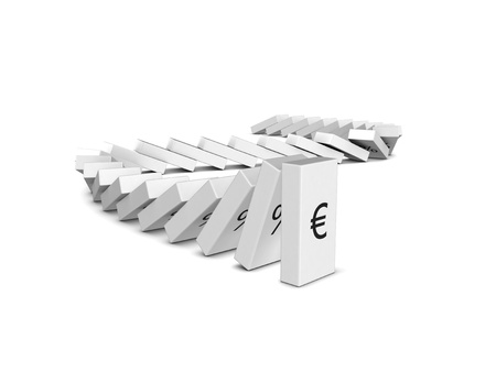 downfall: Euro currency crash. Domino effect. Isolated on the white background Stock Photo