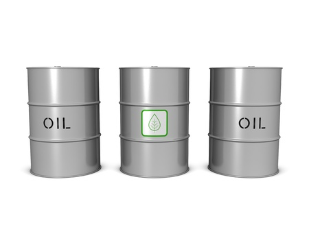 biofuel: Bio fuel and oil barrels. Isolated on the white background