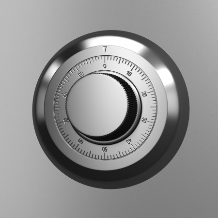 Combination lock. Close up render.