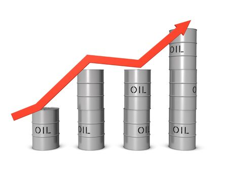 upgrowth: Oil market boom. Isolated on the white background Stock Photo