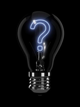 Fragezeichen: Gl�hbirne mit gl�hendem Fragezeichen. Isoliert auf dem schwarzen Hintergrund