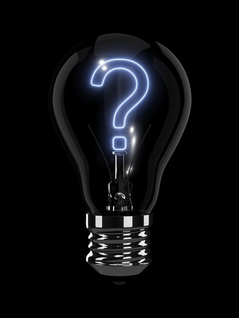 asking question: Light bulb with glowing question mark. Isolated on the black background