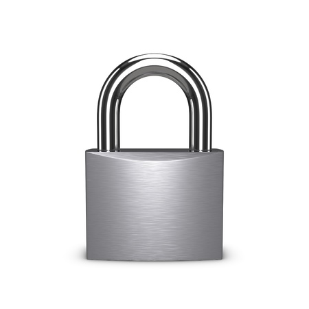 Stainless padlock isolated on the white background.