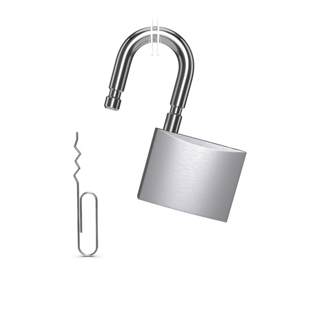 Padlock unlocked with paper clip. Isolated on the white background photo