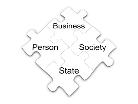 enterprises: Business puzzle concept. Isolated on the white background. Stock Photo