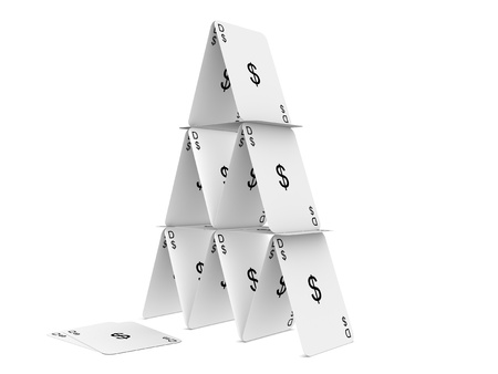 playing the market: Dollar card tower. Isolated on the white background.