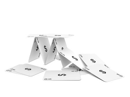 달러 카드 타워입니다. 흰색 배경에 고립.