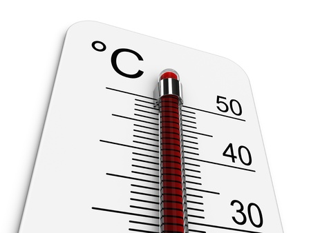 Thermometer indicates extreme high temperature.