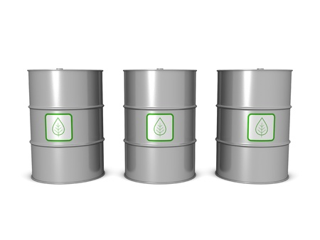 Biofuel barrels, isolated on the white background. Stock Photo - 10191049