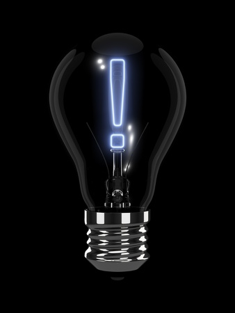 exclamation: Light bulb with glowing exclamation mark. Isolated on the black background