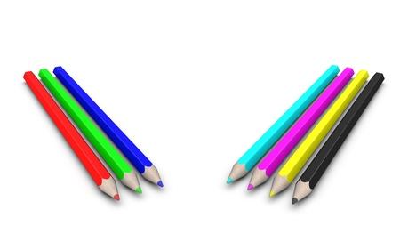 Set of RGB and CMYK pencils. Isolated on the white background photo