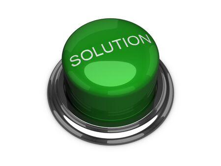 グリーン ソリューション ボタン。白い背景上に分離。