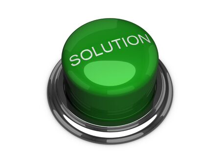 Green solution button. Isolated on the white background. Foto de archivo