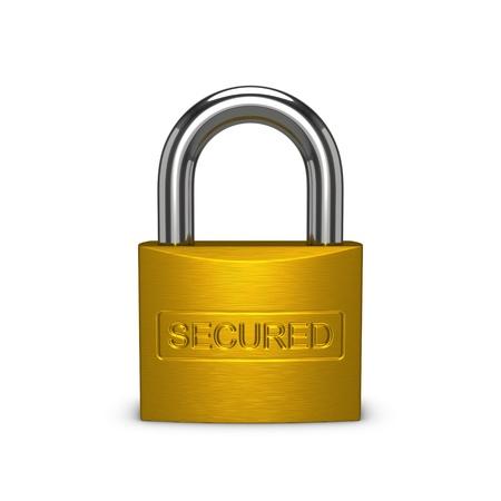 セキュリティで保護された真鍮の南京錠。白い背景上に分離。