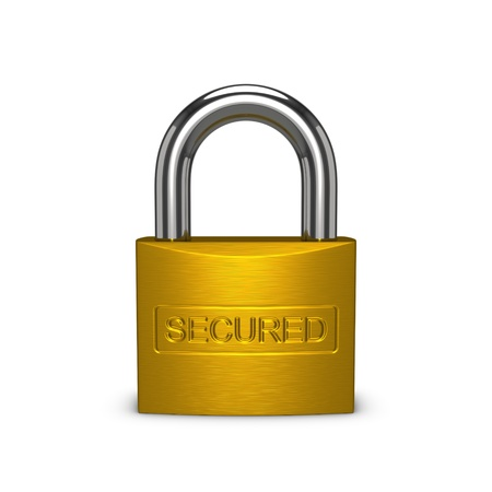 Secured brass padlock. Isolated on the white background.
