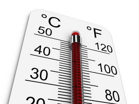 Thermometer indicates extremely high temperature. Stock Photo - 10277840