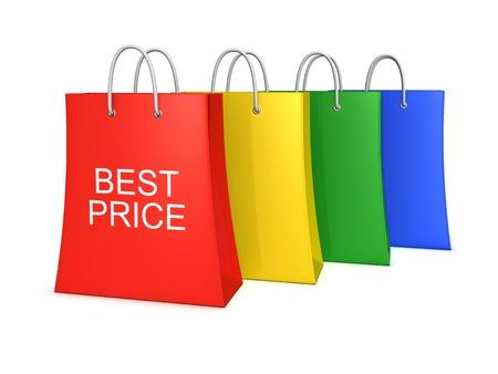 wartości: Zestaw czterech najlepszych torby na zakupy ceny. Samodzielnie na biaÅ'ym tle Zdjęcie Seryjne