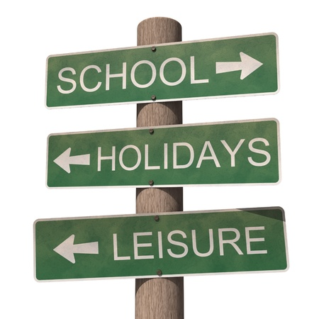return trip: Back to school. 3d illustration on the white background Stock Photo