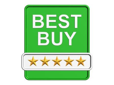 最高の購入ロゴ。白い背景上に分離。