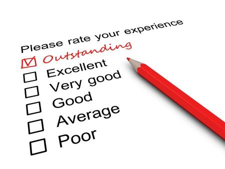 servicio al cliente: Formulario de encuesta con una marca colocada en casilla pendiente. Foto de archivo