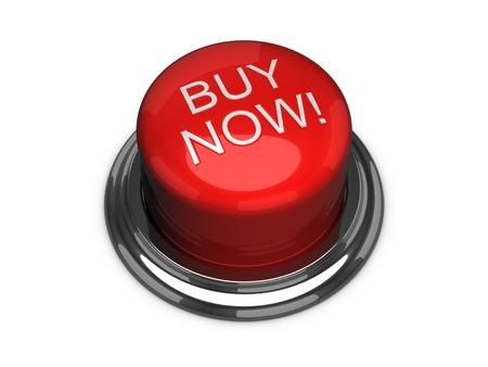 Koop nu de knop. Geà ¯ soleerd op de witte achtergrond. Stockfoto
