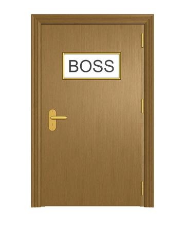 보스 사무실 문입니다. 흰색 배경에 고립.