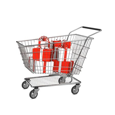 shopping carriage: Shopping cart with gift boxes. Isolated on the white background.