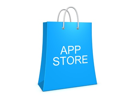 applet: Application store shopping bag. Isolated on the white background.