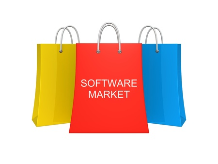 applet: Set of three software market shopping bags. Isolated on the white background.