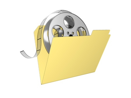 coil: 3d folder with film reel. Isolated on the white background. Stock Photo